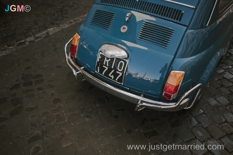 vintage wedding car rome blue fiat 500