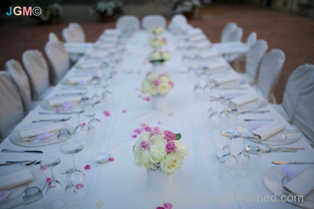 table set up wedding in castle italy
