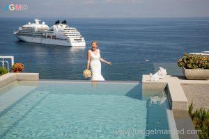 sorrento wedding gallery photo pool with bride